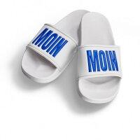 Moin Moin Badelatsche weiß/blaue Druckfarbe 38