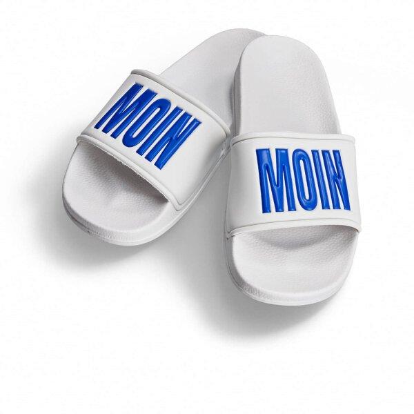 Moin Moin Badelatsche weiß/blaue Druckfarbe 46