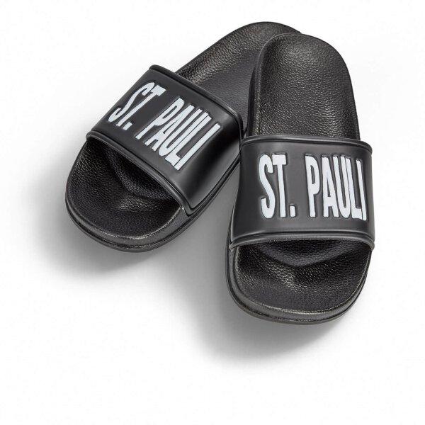 St. Pauli Badelatsche schwarz/weiße Druckfarbe 45