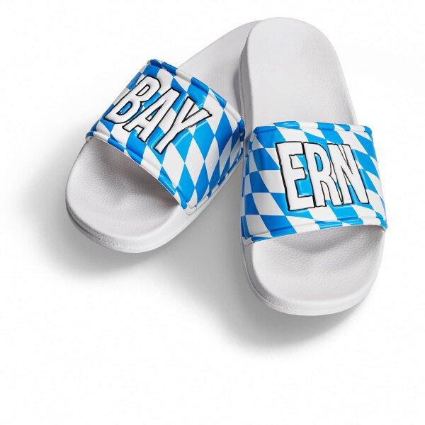 Bayern Badelatsche weiß/blau weiße Druckfarbe 46