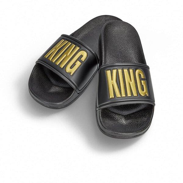 King Badelatsche schwarz/goldene Druckfarbe 48